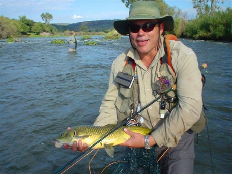 The author - The author in the middle Vaal, near Pothcefstroom, with a 5.5 pound yellow