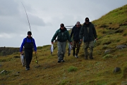 Lunch break - A group of Icelandic anglers are leaving for lunch and change of pools.