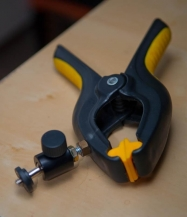 The clamp - A cheap glue clamp and the smallest and cheapest ballhead available combined with 10 minutes in the workshop and you have a fine and steady support for a compact camera.