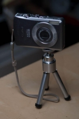 Minute tabletop tripod - As small and cheap as they come, but it will hold a small compact camera