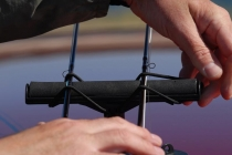 Tips down - The tips are held in place by a simple bungee system on the Vac-Rac system