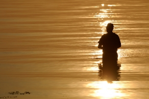 The obvious - It\'s almost a cliche, but still a nice image: the angler in the reflection of the rising or setting sun