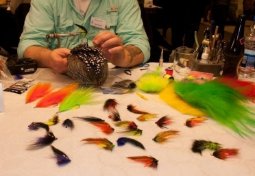 Lots to look at - Danish fly-tyer Kim Nyborg shows off his salmon flies