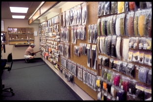 Aladdin\'s cave - This is not where money is stored, but where money disappears. The tying materials section in the fly-shop