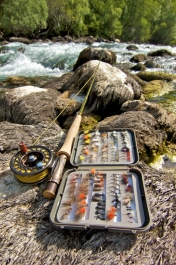 Basic ingredients - The basic ingredients for fly-fishing wild alpine streams. A fine 4 rod, a well greased floating line and highly visible, reliably floating bugs.
