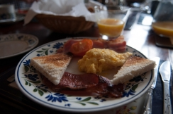 Sturdy breakfast - Bed and breakfast usually means a sturdy British breakfast with egg, bacon and sausages
