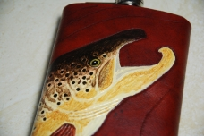 Flask with a kyped salmon -