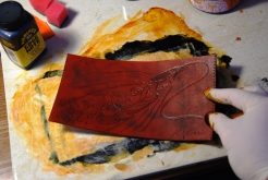 Preparing the punched leather -