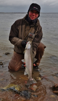 Winter fish - Paul with a cold weather seatrout