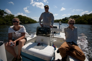 Martin at the helm - Martin took the whole family for a trip in the mangrove channels behind his house