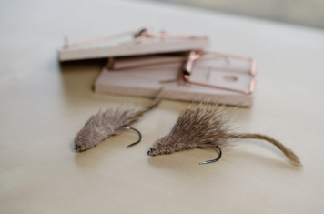 Deer hair mice - The classical way of tying mouse flies. These are very simple, just spun deer hair, roughly trimmed