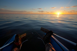 A boat with a view - The wideangle lens used here makes the sun less dominant