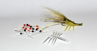 Green shrimp - A green shrimp pattern tied using the eyes and legs from Danish Easy Shrimp Eyes