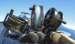 Reels of all orientations - Here\'s a bunch of rods and reels ready to fish. Notice how the middle reel has the handle opposite the two others. It\'s fished by a left hand caster.