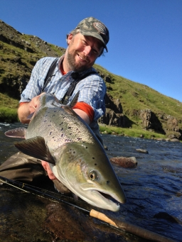 The author - Nils Jorgensen with a switch caught Icelandic salmon