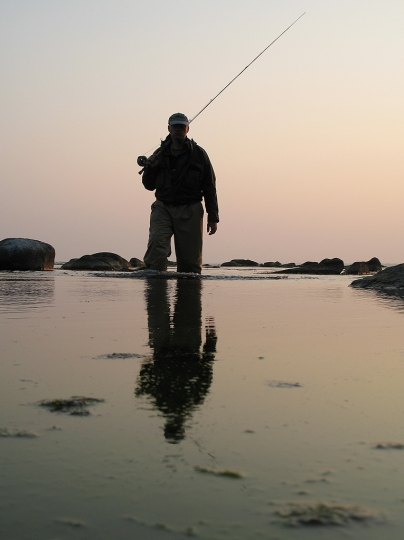Done for the day - Myself wading back as the sun sets and the wind has calmed down
