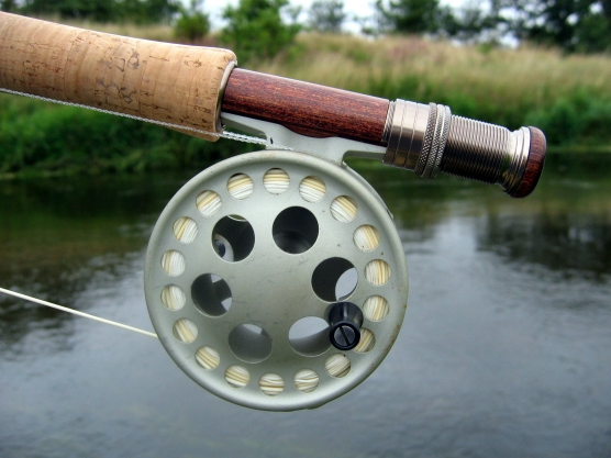 A fly rod - The reel sits all the way to the back and the line is thick