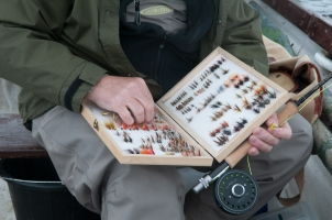 Jens\'s box - My boat buddy Jens had brought a well stocked flybox with lots of suitable flies