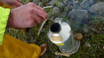 Fire in the kettle - Ghillie Mick\'s kettle boiling water for coffee and tea