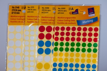 Colour Coding Dots - Avery has a large selection of round paper dots in many sizes and colors