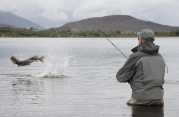 Pike fishing in a shallow Irish lough -