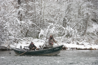 Winter fishing on the Trinity River, USA -