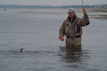 The landing phase - GFF partner Kasper Muhlbach landing a coastal sea trout