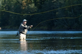Casting in a stream - When the fly is cast the line will carry it over the fly angler, the line is typically moving over the angler in a large, elongated arc
