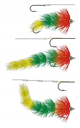 Articulated shanks - Three different ways of using shanks to enlarge a fly:<br /> Top: The shank is the main foundation and a hook is trailing<br /> Middle: The hook is the main foundation and one long shank is trailing<br /> Bottom: The hook is in the front and several shanks are trailing as a flexible tail - AKA a spine<br /> In all three cases the fly is tied on both the hook and the shank(s)