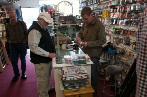 Gary in the tackle shop - Gary (right) is always kind and helpful offering free advice and flies and tackle at good prices in his Ridge Pool Tackle Shop
