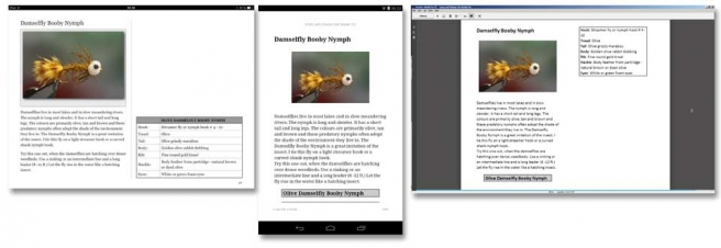 "Three platforms - The same page from the Booby Fly ebook seen on three platforms: standard iPad tablet, Amazon Kindle on a 7"" Android tablet and Kindle on a computer. There\'s a large variation and the iPad version is clearly the best controlled and best looking."