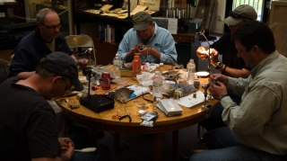 Tying table - Clockwise from the top left: myself (Martin Joergensen), Bob Petti, Richard Ross, Steve Schweitzer and Mike Hogue