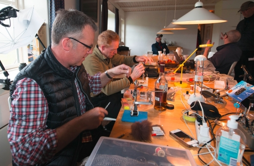 A lot of tuying going on - There\'s people tying flies every day
