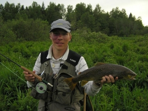 Brownie on a mayfly -