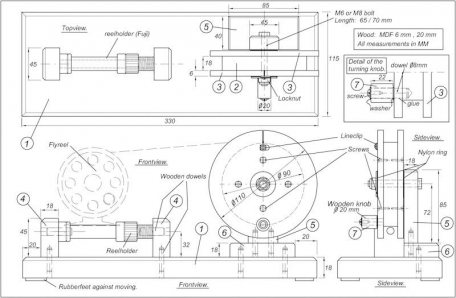 The detail-drawing for the MDF wood line winder project -