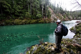 Emerald green waters - Corey watching out for photo ops and fish