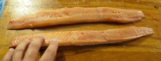 The strips - Trout filets cut in strips
