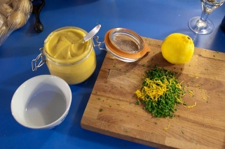 Filling - Mustard, zest of lemon and parsley