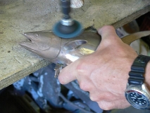 Polishing a tuna -