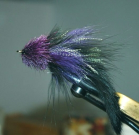 Purple & Black Deer Head marabou  -