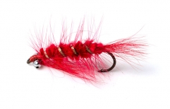 Red thingy - My materials were generally cheap and much too crude for what I wanted to do. Thick chenille and a thick rib combined with a thin red hackle and some red Arctic fox does not lead to a slim harmonic fly