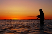 Saltwater fishing in the dim sunlight -