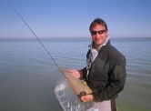 The start of the odyssey- Jimmy with a sand shark in Langebaan lagoon -
