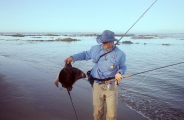 Jimmy with the first Duckbill ray that was caught on the reefs at Strand. -