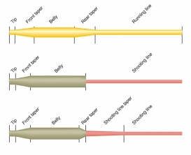 The difference - A weight forward line, a two part line (head and shooting line) and a spliced head and shooting line.