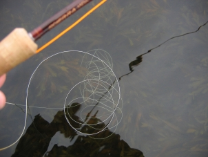 A sinker! - A shooting line underwater like this will shorten your casts severely