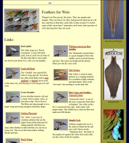Feather dealer - This US feather dealer pushes his feathers using Bob Petti\'s images of Bergman wet flies