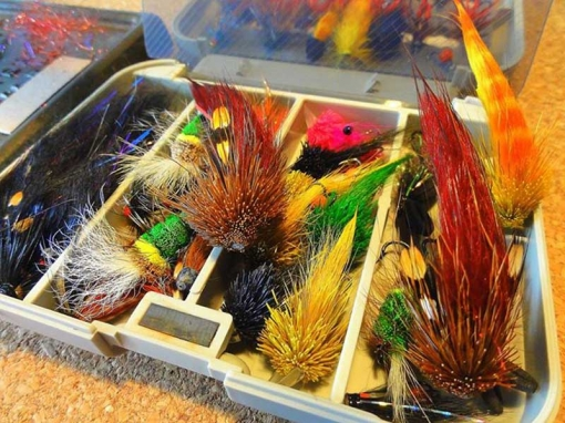 Kim\'s fly box - A rich assortment of Munkers of course, but also Francis flies and other salmon flies